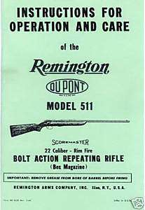 Remington Model 511 ScoreMaster Rifle Gun Manual