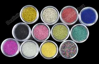 72 Pots Nail Art 6 Kinds of Glitter Decoration Powder Crush Shell Bead