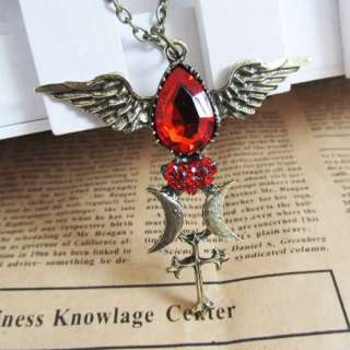 Fashion Red Rhinestone Heart Wings Cross Moon Necklace Pendant Chain