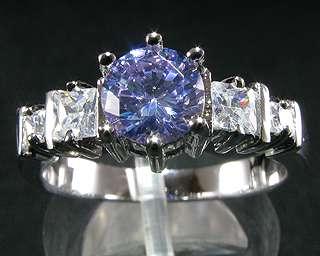 Gift Round Cut Purple Tanzanite Gold Plated Fashion Jewelry Lady Ring