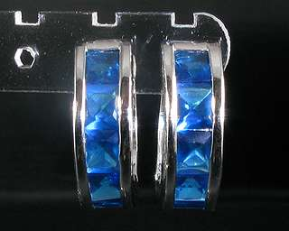Square Cut Blue Sapphire White Gold GP Hoop Earrings