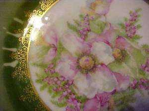 Painted PLATE PINK & WHITE FLORALS by THREE CROWN Co, Germany