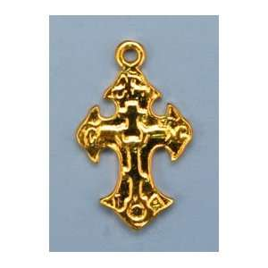Gold vermeil sterling silver baroque style cross charms 2