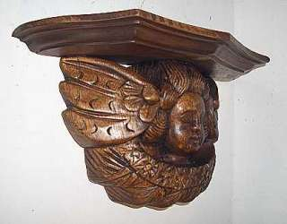LARGE CARVED WOODEN CHERUB ANGEL WALL CORBEL PLAQUE.