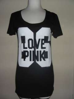 NWT* Victorias Secret BLACK GRAY T shirt COLLECTION LOVE PINK 86 S