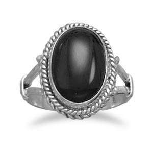 Sterling Silver Oval Black Onyx Rope Edge Ring / Size 7 Jewelry