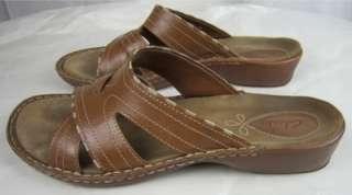 Tan Leather Slides Sandals 8M Criss Cross Straps Low Heels