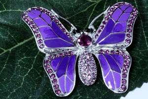 Butterfly w/ Swarovski Crystals Pin Brooch Clear, Blue
