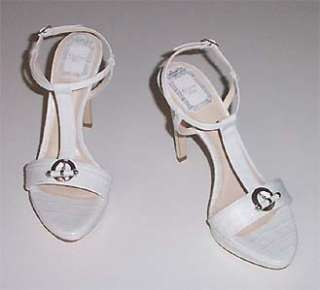 NIB DIOR white croc embossed T strap sandals sz 7.5 platform shoes