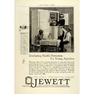 1925 Ad Antique Jewett Porcelain Refrigerators Maid Children Food