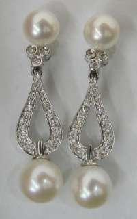 Beautiful Pearl & .16ctw Diamond 14K White Gold Dangle Earrings 4.6g