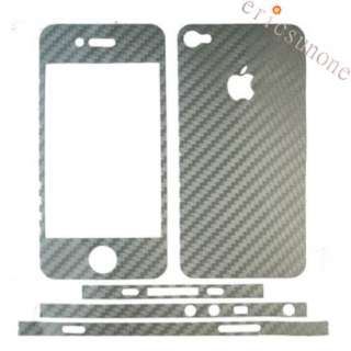 Silver Carbon Fiber Sticker Cover Full Body for iPhone4