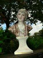 Victorian Dresden Sitzendorf Porcelain Figural Dandy Man Bust Figure