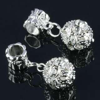 Dangling Inlay White Crystal Ball Shape Beads 20x Pc73