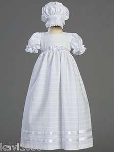 Daphne Girls Christening Baptism Gown Dress White Cotton Sz NB 3M 6M