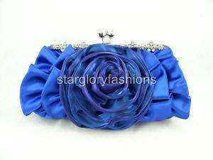 Royal Blue Crystal Flowers Frame Wedding/Party Clutch