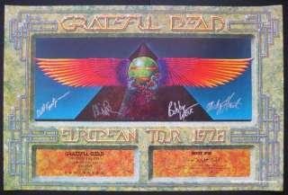 Grateful Dead Egypt 78 Poster Autographed by 4 PSA DNA