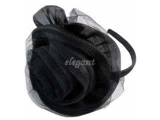 Black Rose Rosette Wedding Flower Girls Headband Hair Band