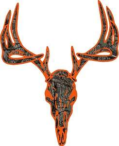 Orange camo deer buck skull hunting vinyl graphic decal