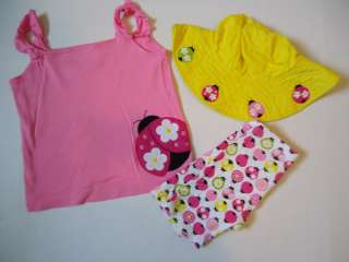 Gymboree Pretty Lady Ladybug Top Shirt Shorts Hat 3 Yrs