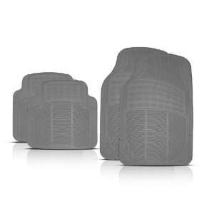 Car Floor Mats Ultra Premium 100% Rubber Classic Design Gray 4 Piece