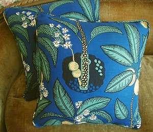 Frank Brunschwig Fils Designer Fabric Custom Throw Pillows Blue