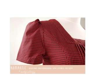 Womens Korea Casual Plaid Dress,8203R,BNWT, RED, sz S