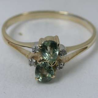 14K SOLID YELLOW GOLD NATURAL GREEN SAPPHIRE CLUSTER BAND DIAMOND RING