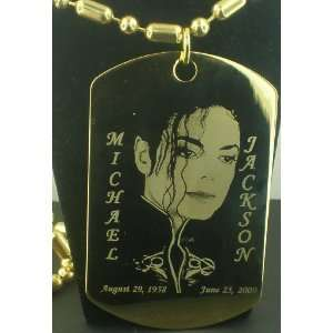 Michael Jackson RIP with script across Gold Dog tag