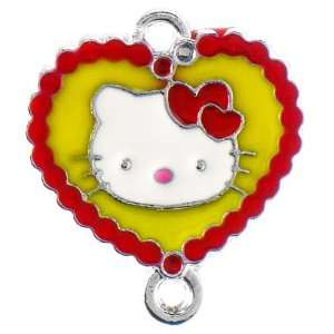 12X DIY Jewelry Making Heart bordered Hello Kitty enamel charm   Red