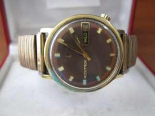 Bulova Accutron Solid 14k Y. Gold Mens Watch 33mm 2182