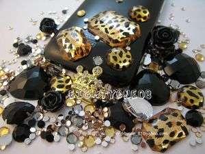 Deco DIY Yellow Fashion Leopard Crown Rhinestone Bling Phone Case
