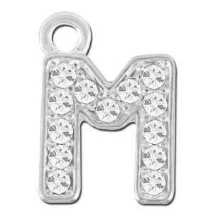 11mm Rhinestone Alphabet Letter Charm   M: Arts, Crafts