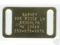 XL Brass 1 Collar Slide K9 Large Breed Dog Pet ID Tag