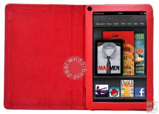 Protector + Stylus + Leather Case Cover Red for  Kindle Fire