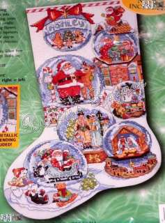Bucilla SNOW DOMES Counted Cross Stitch Christmas Stocking Kit  L/R  L