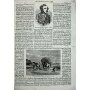 1859 Portrait Jacob Bell Hay Cart Farming Horse France: Home & Kitchen
