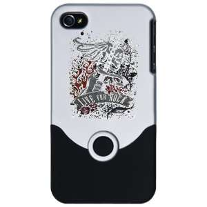 iPhone 4 or 4S Slider Case Silver Live For Rock Guitar Skull Roses and