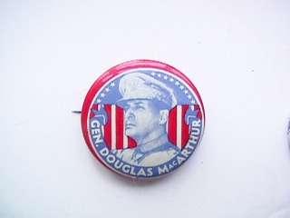 Campaign Pin Back Button Gen Douglas MacArthur