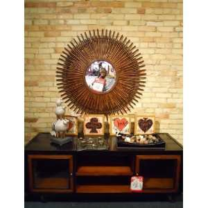 Extra Large Bamboo Sunburst Wall Mirror