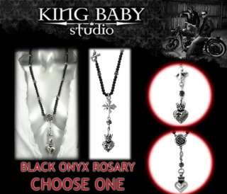 KING Queen Baby Studio MB Cross Rose Heart Onyx ROSARY Q56 5055 Q56