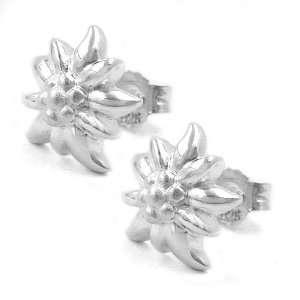 .925 Silver Edelweiss Flower Earrings DE NO Jewelry