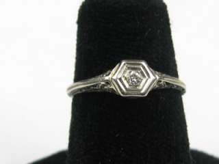Petite 14K White GOLD 1920s Art Deco Filigree Diamond Ring Promise
