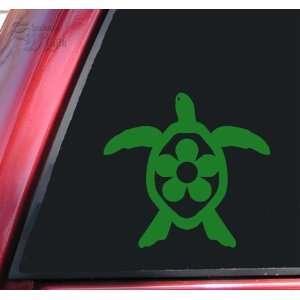 Flower Honu Hawaiian Sea Turtle Green Vinyl Decal Sticker Automotive