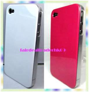 2X HOT PINK / WHITE MATTE EDGE APPLE IPHONE 4 4S HARD CASE