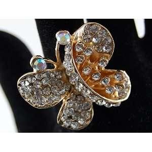 Wing Gold Tone Crystal Rhinestone Metal Costume Finger Ring Jewelry