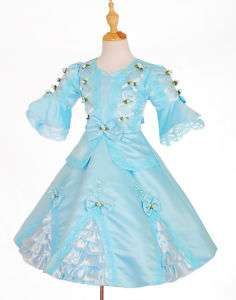 Blue Pageant Party Costume Vintage Victorian Dress 5 6