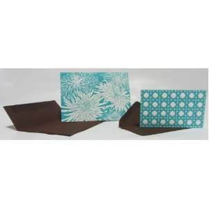 Elum Teal Mums Letterpress Note Cards/Gift Cards Twin