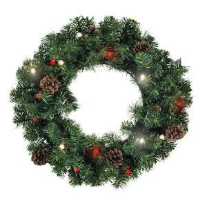 22 Cordless LED lighted Christmas Wreath Pine Cones Red