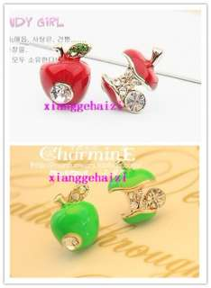 Pair Pretty Enamel Green Red Apple Bead Rhinestone Crystal Ear Stud